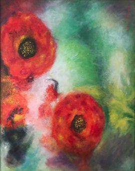AnnandaleJames#27Summerblooms.jpg three red close petalled flowers on a mute green background