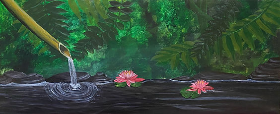 LynFairlie - Water lilies.jpeg bamboo water pipe, foliage and pink water lilies