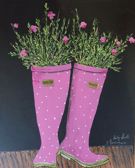 Gayle Fleming kinky Boots.jpg Pair of pink wihite spotted boots used as plamnters with pink and red flowers