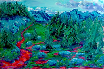 Nikki Wouters Washington Wandering . vivid landscape in green, blue apurple and orange