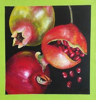 Seedy Sensations - Christine Boulsover.jpg three pomegranites one with seeds