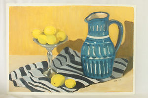 Still life with blue jug and lemons.JPG