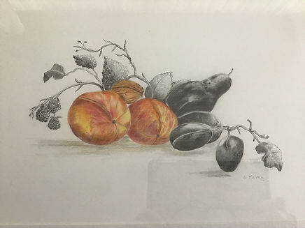 Fruit  Gay Mckay.Still life with fruit and foliage orange and black