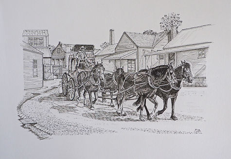 Benseman_P_Ballarat Mail Run.jpPen drawing black and whiteg