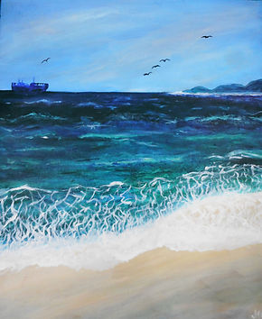 Annette - Tranquility.jpg beach with green and blue sea and pale blue sky