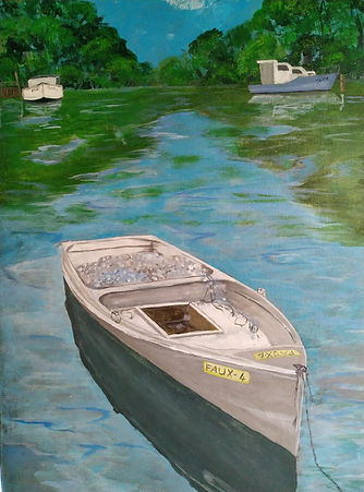 JHealey -  Old Fishing Boat. On lake with tree greenery reflections