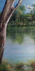 water with reflections. pastel painting