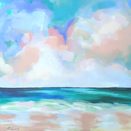 Katherine Cussak - Awaken. Dawn  seascape in blues, pinks,green