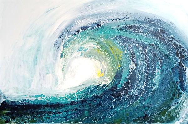 susan_segal_breaker.jpg large blue wave with foam and yellow highlight
