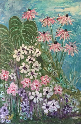 Tish Hays - Secret Garden. pink lilac and cram flowers with foliage and sky.