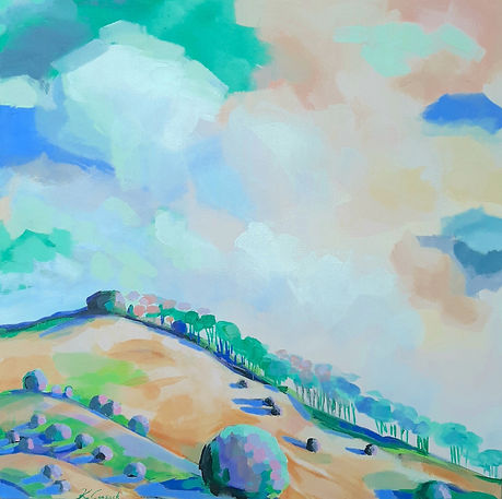 Katherine Cussak - Uplifting. Sloping hill against a large sky in blues, oranges and greens