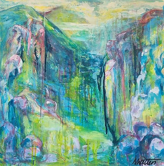 Nikki Wouters Pathways.jpeg Abstract in blues, green and pink.