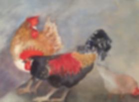 three chooks by Carol Page in red, brown and black