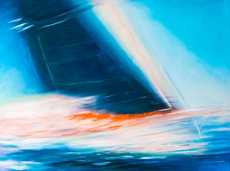 close-reach-bruce-peebles-artist yacht moving through water swiftly