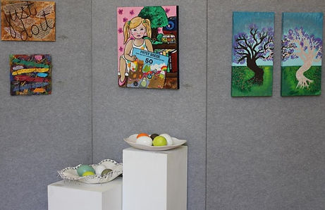 Art work on three panel stand