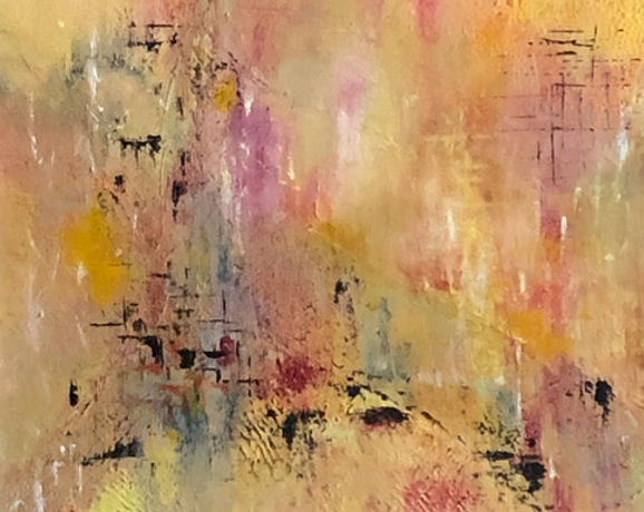 Bill Duffiels - Confluence.jpeg Yellow and pink background with dark patches