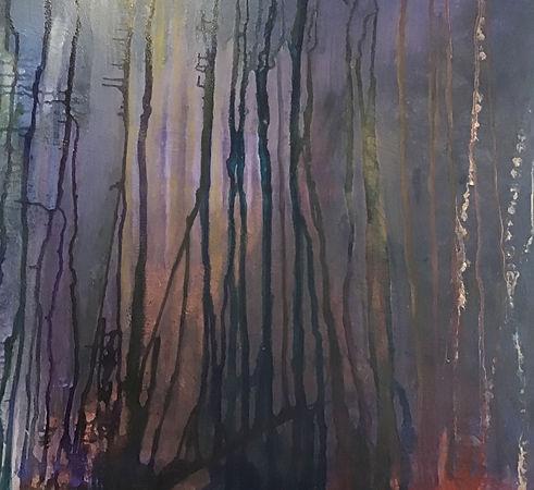 Gay McKay A Glimpse of Light.Dark, thin tree trunks with golden purplish light showing through,Tree trinks