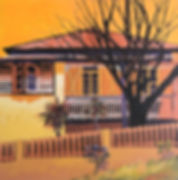 painting is orange tones Paddington house copyrighted