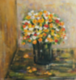vase of yellow, red and white flowers
