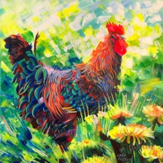image_6483441-3.jpeg Brightly coloured hen in bright green grass