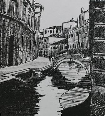 Kim Blackshaw - Venice.jpg black and light grey lino print