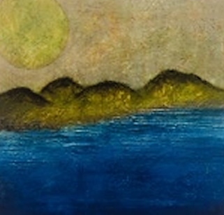 Deep Blue  Dubravka Zirojevic  Dark blue water, yellow -green mountains outlined in black lighter yellow sky with huge sun.png