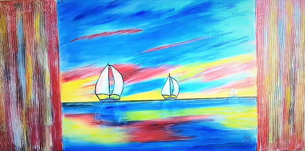 On the High Sea - Mary Dann. vivid landscape  with two sail boats in blue, red and yellow