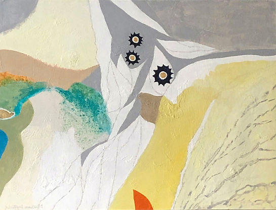 Bill Duffield - Exploration1.jpeg Abstract landscape in yellow, green , grey and white with black accents