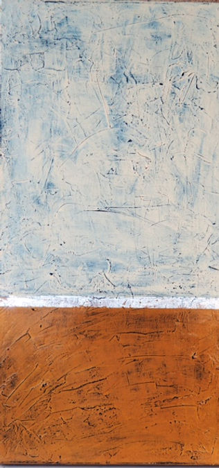Jacqui cousins 1. Abstract with textured brown foreground and soft blue textured surface above.reground