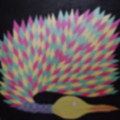 Cobird 20 Malcolm Stirling Fantasy bird bright pink, gold and aqua.jpg