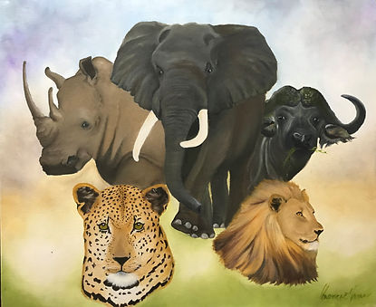 Charlene ATwell African Big 5.JPG heads of rhino, elephand, bison, leopard and lion on a muted blue green and yellow background