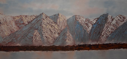 Malcolm Stirling - Morming in the Mountains high rocky mountain range in browns and blue.