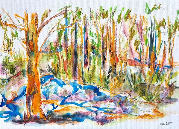 Nikki Wouters - Among the gums -.jpeg Multi coloured semi abstract landscapw with trees and hillock