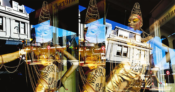 Chris Jannides 'dancing mannequin & reflections'.jpg composite images in gold, blue and white against a dark background.