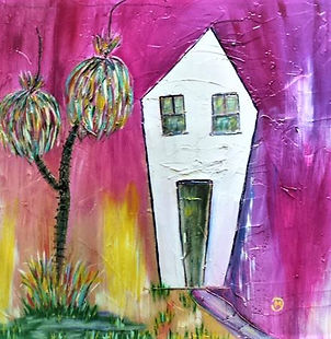 Crooked House Mary Dan. white house on pink background with fantasy trees