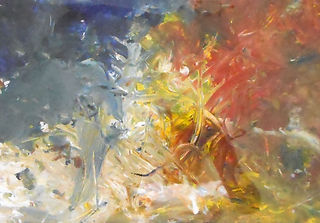 Mt O Special School Hadrian. Abstract painted with fingers and brush in yellows, red and blue.