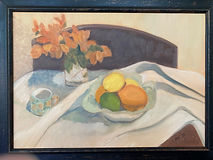 Still life with Bouganvilleas and fruit.