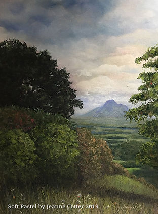 Maleny-Majesty-by-Jeanne-Cotter- geen landscape with cloudy sky and distant mountain
