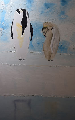 Malcolm Stirling - Are you my Mother.jpg two penguins, one a juvenile,on ice and snow  on ice