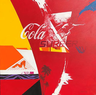 John ChadwickCola Surfer Pop at image in red,yellow , orange blue and white