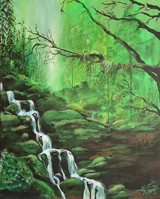 Rhonda Knight_Green Forest.JPG landscape in green tomes with a white waterfall