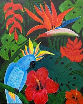 Tropical Paradise.jpg blue parrot with strelitza and other tropical plants