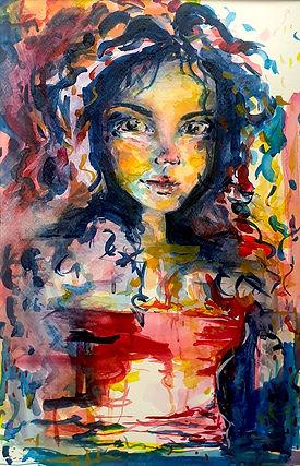 Nikki WoutersFae Child.jpg female head and torso vivid colours