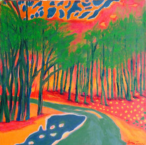 smlIAnnandaleJamesfantasy road. Imagined landscape in bright colours red, green yellow and blue