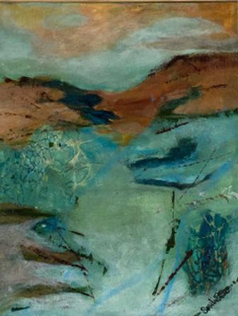 sondra Trqanquility soft tone of blue -green, brown and orange Landscape