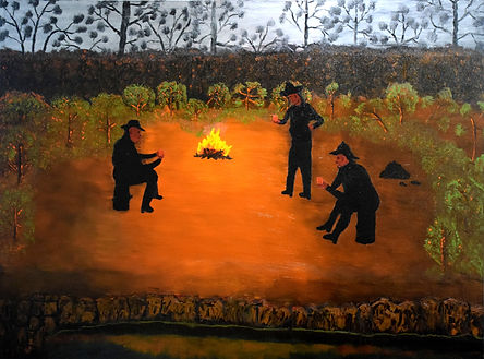 Hard Day's Night- Malcolm Stirling.jpg three drovers around a campfire