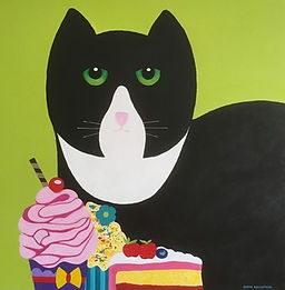 Chris Boulsover - Bunty Loves Cake.jpg Black and white stylised cat with 3 pieces of decorated cake