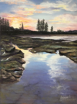 Moffat-Rocks-by-Jeanne-Cotter- rocks and water against a sunrise sky