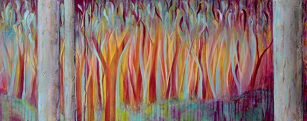 D-COX_Her-Beauty-and-Her-Terror-Lanscape of burning trees in reds and aqua2_WE