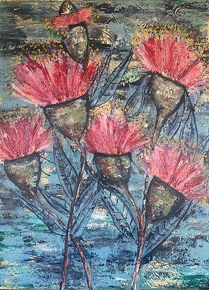 Gum Flowers John Chadwick.six red flowers against apredominantly blue backgroundjpg